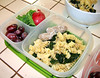 "In my lunch box: From my ""Lunch Date w/Guerin Barry! Watch my VIDEO! for the recipe for his yummy potatoes. We also enjoyed pasta salad with black kale, grapes and radishes from the farmers' market."