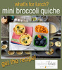 Mini broccoli quiches are portable and can be made ahead. Beautiful lunch and detailed recipe from Baked Bree HERE ►► http://bit.ly/16O6UOm