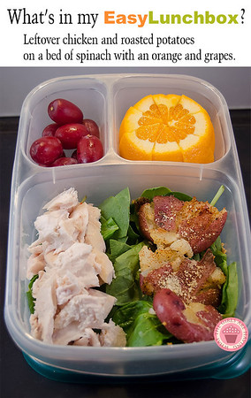 Leftovers always make packing lunch boxes so much easier. This one's got leftover chicken and roasted potatoes on a bed of spinach with an orange and grapes. From Dina of What The Girls Are Having. MORE ► http://bit.ly/1lsxgYv