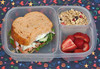 "What's in our lunch box: Panera for dinner last night, so leftovers for lunch today! Half of a Mediterranean Veggie sandwich - tomato, onion, cucumber, lettuce, peppers, feta and hummus. On the side are strawberries and yogurt with granola on top. Thanks to Bento For Kidlet for sharing this one.   <a href=""http://bit.ly/bvLF6t"">http://bit.ly/bvLF6t</a>"