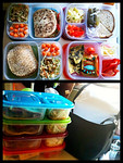 "Thanks to Emily C for sharing these delicious meals on our Facebook wall. She wrote, ""Thank you, I love my easy lunch boxes. I use them for my kids lunches and for outdoor concerts with my family!"""