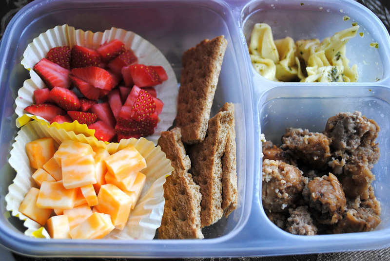 Strawberries and graham crackers, pasta, meatballs and cheese...simple and easy to throw together on those mornings when you look at the clock and realize you should already be walking out the door and no one has finished breakfast or put on any shoes! Thanks to Jennifer from Gather Around the Table