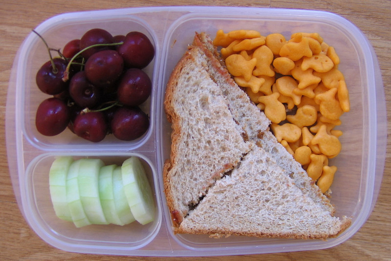 Red ripe cherries in season.  Colorful lunches are always a treat.