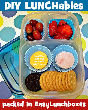 Make your own Lunchables using compartmentalized containers from EasyLunchboxes. More HERE: https://www.facebook.com/photo.php?fbid=10151511737221978&set=pb.225441016977.-2207520000.1357445288&type=3&theater