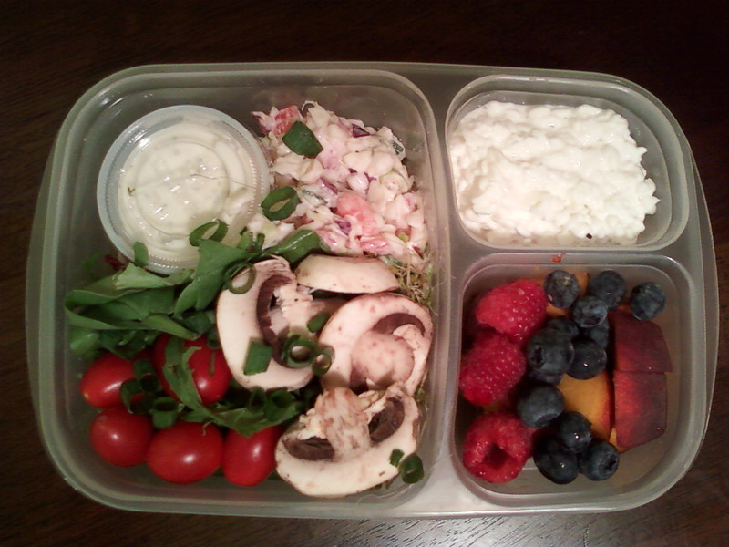 Mixed green salad with yogurt ranch dressing, summer veggie salad, mushrooms, cherry tomatoes and chopped green onions. Cottage cheese and raspberries, blueberries and peaches for dessert. Thanks to Liz of LYLAS & Co. for sharing!  http://bit.ly/9xdfSk