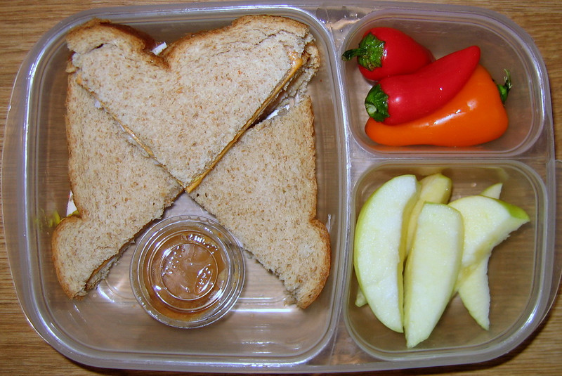 """Apples for dipping in the peanut butter... and little kids love to dip :) """"Souffle cups"""" for the peanut butter can be purchased on line or bought at a restaurant supply store."""