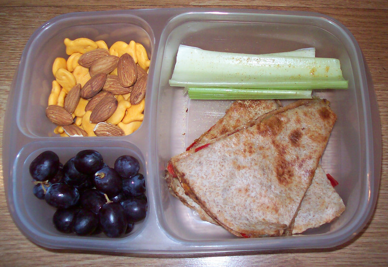 Last night's quesadilla with seedless grapes. The celery has some seasoning salt on it. Crunchy goodness :)