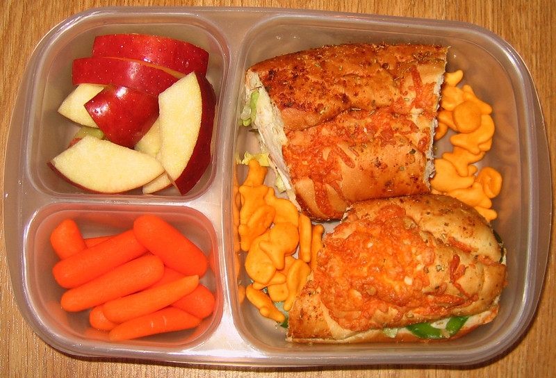 Crisp apples and carrots with leftover Super Bowl (Subway) sandwiches after the big game.  Go Team!