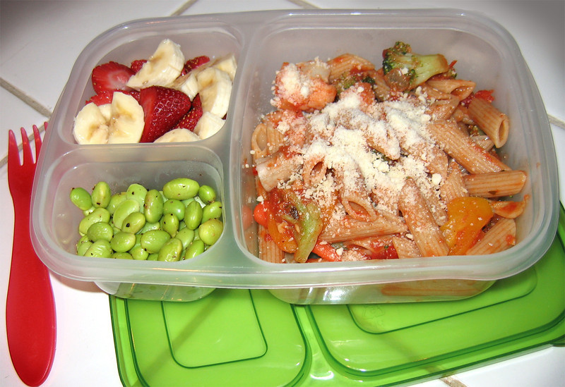 My girls love their edamame sprinkled with lemon pepper. Served here with fruit and pasta with veggies and marinara sauce.