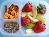 Snack Box! Afternoon snack to nibble on during homework: Fresh fruit, some fishy crackers and pretzel sticks and sunflower seed. Prepare these ahead of time and your kids will know what to reach for after school.