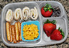 "Turkey and cheese roll ups on a multigrain tortilla, pretzel rods, chedder bunnies, strawberries and raisins. Thanks to Amanda of lunchbox limbo  <a href=""http://bit.ly/dkmSjJ"">http://bit.ly/dkmSjJ</a> for this one!"